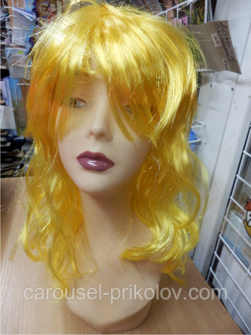 Парик карнавальний довгий жовтий