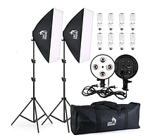 Набір постійного студійного світла з софтбоксами для фото та відеозйомки на 8 LED ламп Louis Daguerre CA 9069