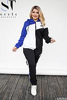 Спортивний костюм Nike з капюшоном жіночий трьохкольоровий | турецька двухнитка, фото 1