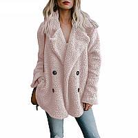Розовая куртка размера плюс из пушистого теплого флиса Alexika