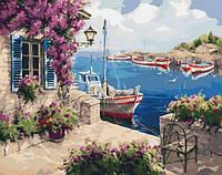 Яркая картина по номерам красивый Сельский пейзаж На рассвете 40х50 см Набор акриловой живописи Идейка KHO2237