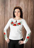 Жіноча вишита футболка довгий рукав. Модель: Українські барви