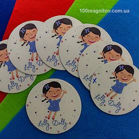 Рекламний магніт для інтернет-магазину дитячого одягу. Діаметр 68 мм 3