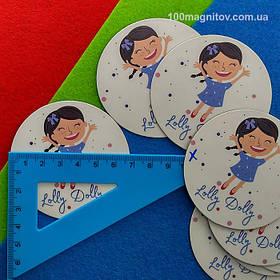 Рекламний магніт для інтернет-магазину дитячого одягу. Діаметр 68 мм 5