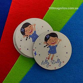 Рекламний магніт для інтернет-магазину дитячого одягу. Діаметр 68 мм 6
