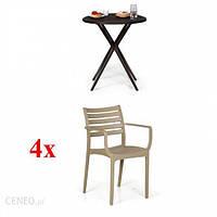 B2B Partner 4X Fotel Slender Beżowe + Stolik Coffee Time Gratis