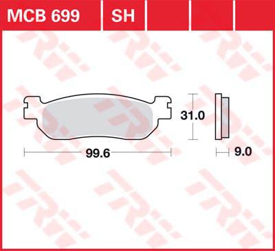 Тормозные колодки мото TRW-LUCAS задние MCB699 для мотоцикла Yamaha R6 / Majesty / X-MAX / R1