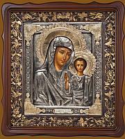 Писаная икона в серебряном окладе. Икона Казанской Божьей Матери (2 вариант) 42 см * 39