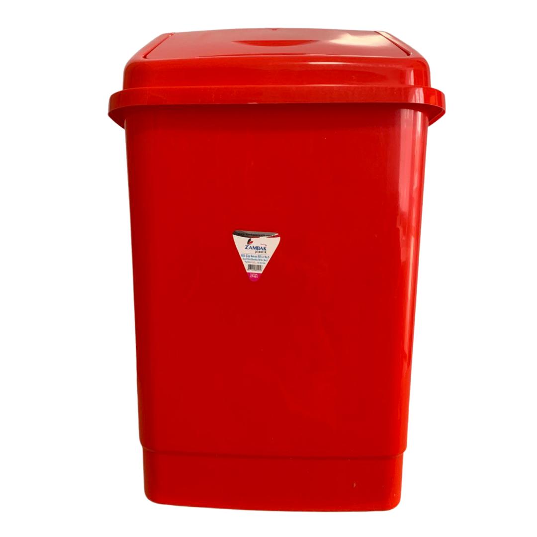 Ведро для мусора с поворотной крышкой BEM 50 литров красный