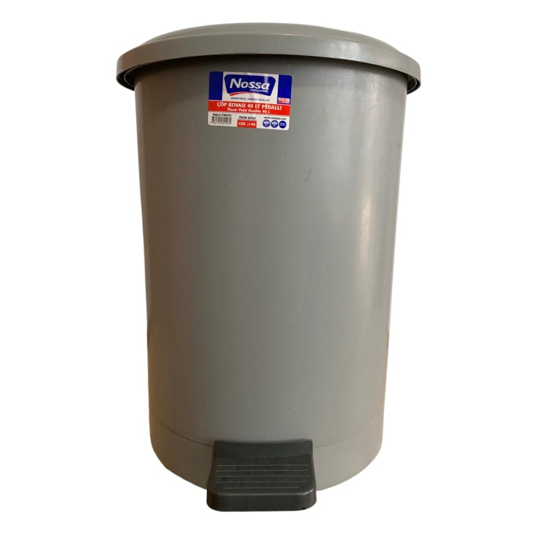Ведро для мусора круглое с педалью 40 литров серый