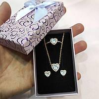 """Набор серьги, кольцо и колье из медзолота """"Циркониевые сердечки 3 в 1"""" солидный подарок в упаковке для девушки"""