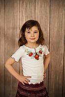 Дитяча вишита футболка. Модель:Маки-ромашки, фото 1