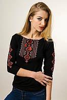Молодіжна жіноча вишита футболка із рукавом 3/4 чорного кольору із червоним орнаментом «Гуцулка», фото 1