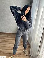 Велюровый спортивный костюм  женский свободная кофта с капюшоном на молнии и штаны р-ры 42-48 арт.  078
