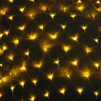 Электрогирлянда LED сетка теплый желтый
