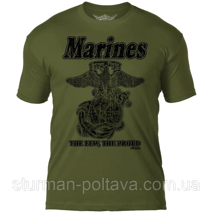 Футболка  патриотическая винтажная  - морские  силы США  7.62 Design USMC 'Retro'  цвет  олива  Battlespace