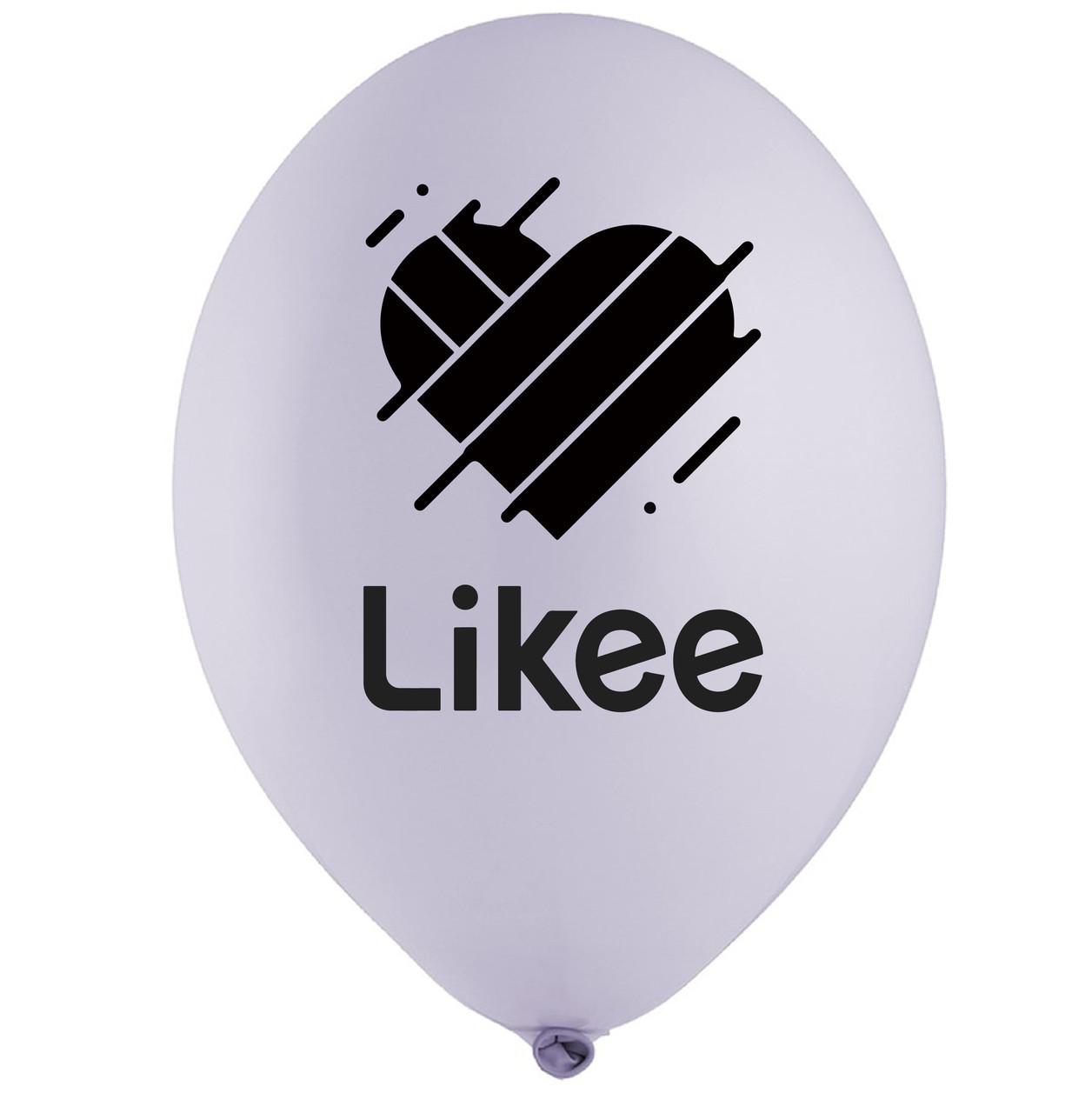 """Латексна кулька 12"""" лілова з чорним двосторонім малюнком """"Likee"""" (BelBal)"""