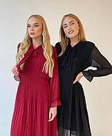 Легкое шифоновое платье свободного кроя с юбкой плиссе 42/46 Беж, Черный, Красный