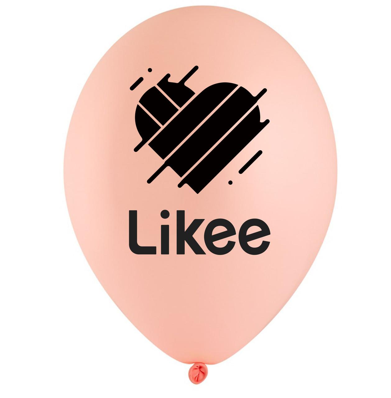 """Латексна кулька 12"""" ніжно-рожева з чорним двосторонім малюнком """"Likee"""" (BelBal)"""