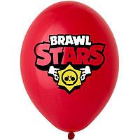 """Латексна кулька 12"""" червона з малюнком """"Brawl Stars""""(3 кольори) (BelBal)"""