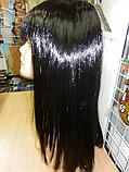 Парик карнавальный длинный черный прямой с косичками, фото 2