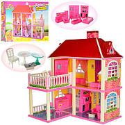 Кукольный дом Арина 6980 / Двухэтажный домик для кукол на 5 комнат с верандой (размер домика 83,5-70-25,5 см)