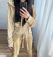 Велюровый спортивный костюм женский стильный кофта на молнии с капюшоном и штаны р-ры 42-48 арт. 087