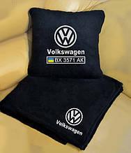 Автомобильный плед в чехле с вышивкой логотипа и гос.номера авто