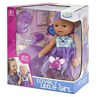 Пупс фея функциональный Warm Baby 42 см в фиолетовом платье интерактивный кукла большая с аксессуарами (470)