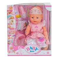 Пупс Baby Love функциональный интерактивный 38 см для девочки Принцесса кукла с горшком и аксессуарами (44212)
