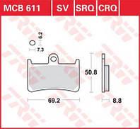 Тормозные колодки мото TRW-LUCAS передние MCB611SV для мотоцикла Yamaha R6 / R1 / Fazer