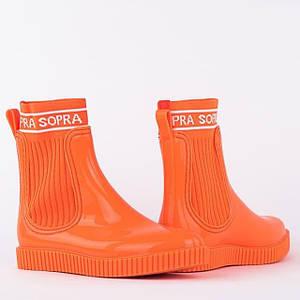 Жіночі гумові силіконові чоботи/ Помаранчеві чобітки/короткі гумові чобітки/Жіночі гумові чобітки