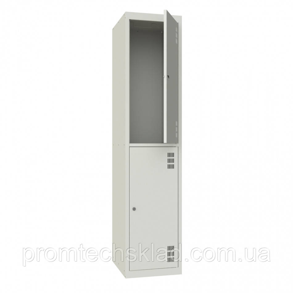 Шкаф для одежды металлический двухкамерный, двухуровневый