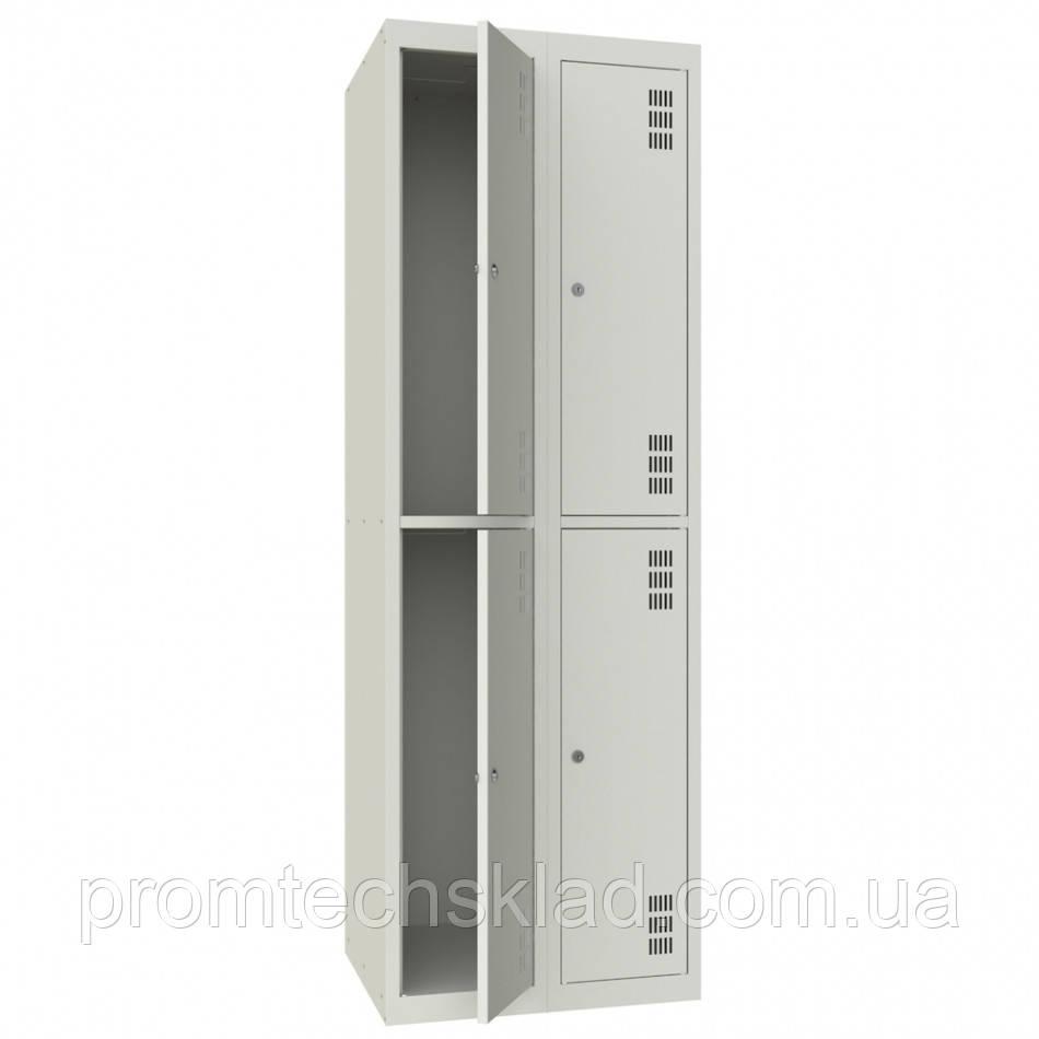 Шкаф для одежды металлический четырехкамерный, двухуровневый