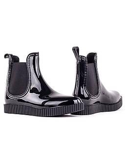 Жіночі гумові силіконові чоботи/ Чорні чобітки/короткі гумові чобітки/Жіночі гумові чобітки