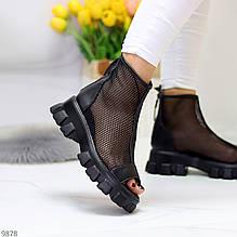 Тільки 36,38 р! Жіночі черевики чорні літні еко шкіра+ сітка