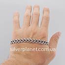 Серебряный браслет двойной ручеек. Ширина 9 мм. Чернёное серебро 925. Длина  21.5 см, фото 6