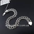 Серебряный браслет двойной ручеек. Ширина 9 мм. Чернёное серебро 925. Длина  21.5 см, фото 8