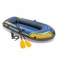 Надувная лодка CHALLENGER 2 SET, до 200 кг 236Х114Х41 см с веслами и насосом