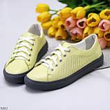 Стильные женские кроссовки желтые натуральная кожа весна / осень, фото 2