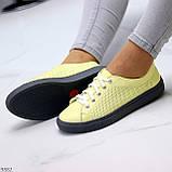Стильные женские кроссовки желтые натуральная кожа весна / осень, фото 3