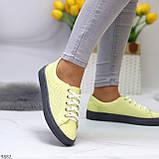 Стильные женские кроссовки желтые натуральная кожа весна / осень, фото 5