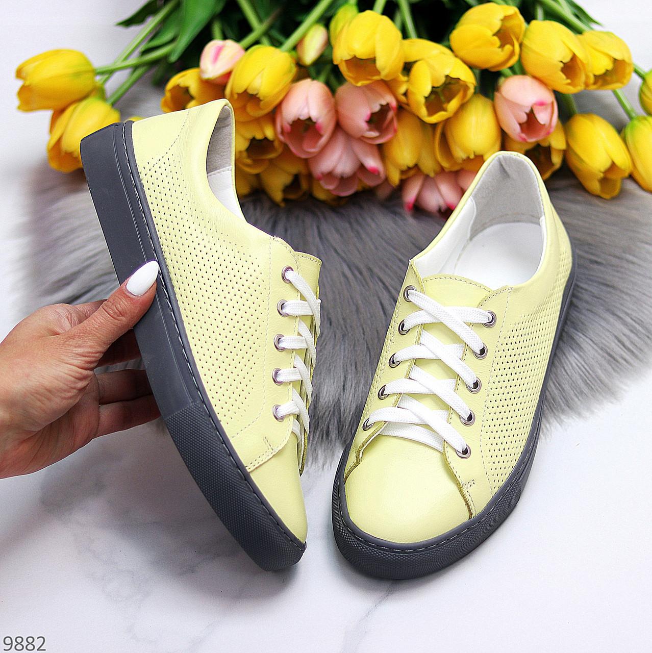 Стильные женские кроссовки желтые натуральная кожа весна / осень
