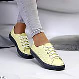 Стильные женские кроссовки желтые натуральная кожа весна / осень, фото 6