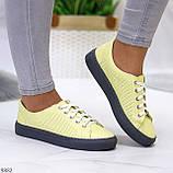 Стильные женские кроссовки желтые натуральная кожа весна / осень, фото 7