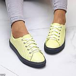 Стильные женские кроссовки желтые натуральная кожа весна / осень, фото 8