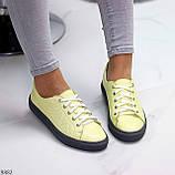 Стильные женские кроссовки желтые натуральная кожа весна / осень, фото 9