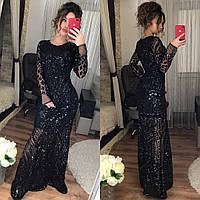 Платье в пол с рукавом, черное