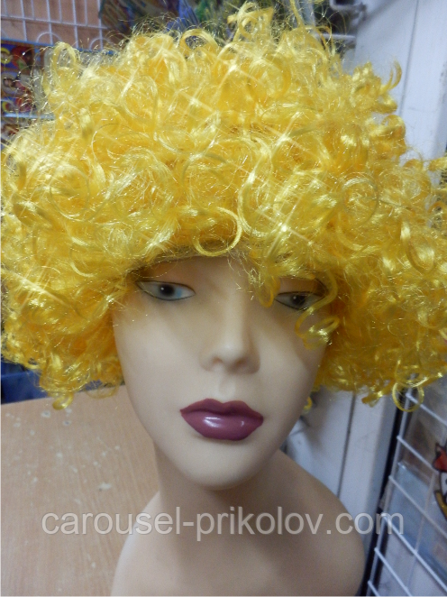 Кучерявий Парик жовтий