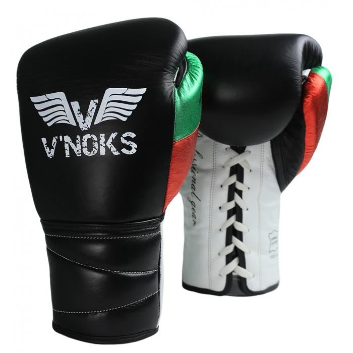 Боксерські рукавички на шнурівці V'Noks Mex Pro 8 oz унцій чорний